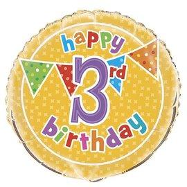 "Foil Balloon - Happy 3rd Birthday - 18"""