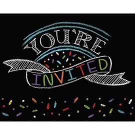 "Invitations-Chalk Birthday-8pkg-4""x5"""