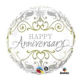 "Foil Balloon - Elegant Happy Anniversary - 18"""