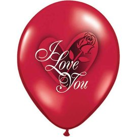 Latex Balloon-I Love You Red Rose-1pkg-11""