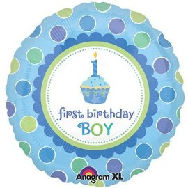 "Foil Balloon - 1st Birthday Boy - 18"""