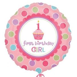 Foil Balloon - 1st Birthday Girl - 18""