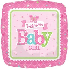 """Foil Balloon - Welcome Baby Girl - 17"""""""