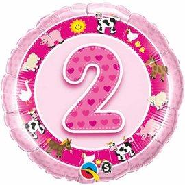"Foil Balloon-2 Pink Farm Animals 18"""