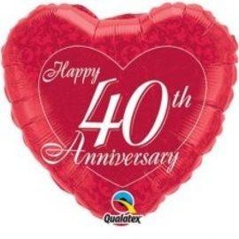 """Foil Balloon - 40th Anniversary Heart - 18"""""""