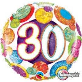 "Foil Balloon - Happy Birthday 30 - 18"""