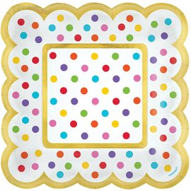 Scalloped Paper Plates-Rainbow Colours Dots-5.5''-36pk