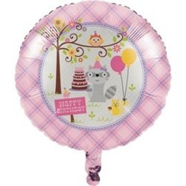 Foil Balloon - Happi Woodland - Pink-18''