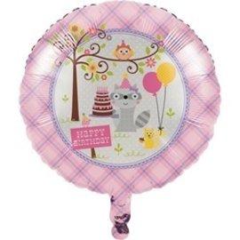 Foil Balloon - Happi Woodland - Pink-18''