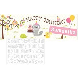 Giant Party Banner - Happi woodland Pink-Add Name-60''x20''