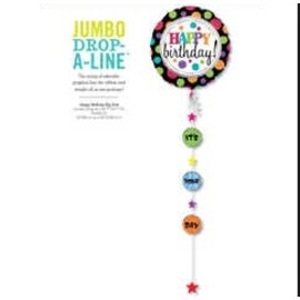 "Foil Balloon - Happy Birthday Drop a Line 90"""
