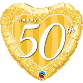 "Foil Balloon - Happy 50th Gold Heart- 18"""