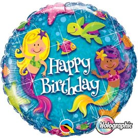 """Foil Balloon - Happy Birthday - Mermaid and Fishes - 18"""""""