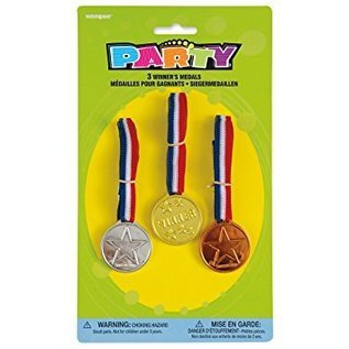 3 Winner's Medals (Gold, Silver, Bronze)