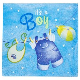 Napkins-BEV-It's a Boy Blue Cloths-16pk-2ply- Discontinued