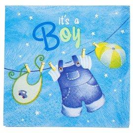 Napkins-BEV-It's a Boy Blue Cloths-16pk-2ply
