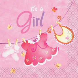 Napkins-BEV-It's a Girl Pink Cloth-16pk-2ply