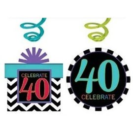 Swirl Decorations - 40th Birthday-30pk