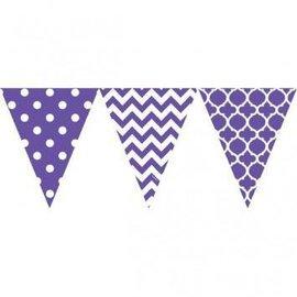 Pennant Banner-Plastic-Purple/ White-12ft