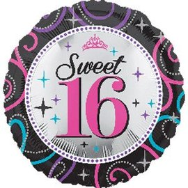 Foil Balloon - Sweet 16 Sparkle-17''
