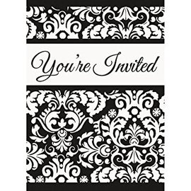 Invitations-Black Damask-8pk-4''x5.5''