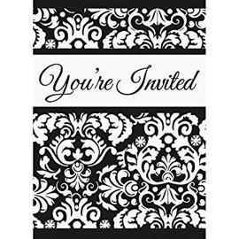Invitations-Black Damask-8pk-4''x5.5''