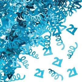 Confetti-Foil-Turquoise Age 21 Swirls-1pkg-14g