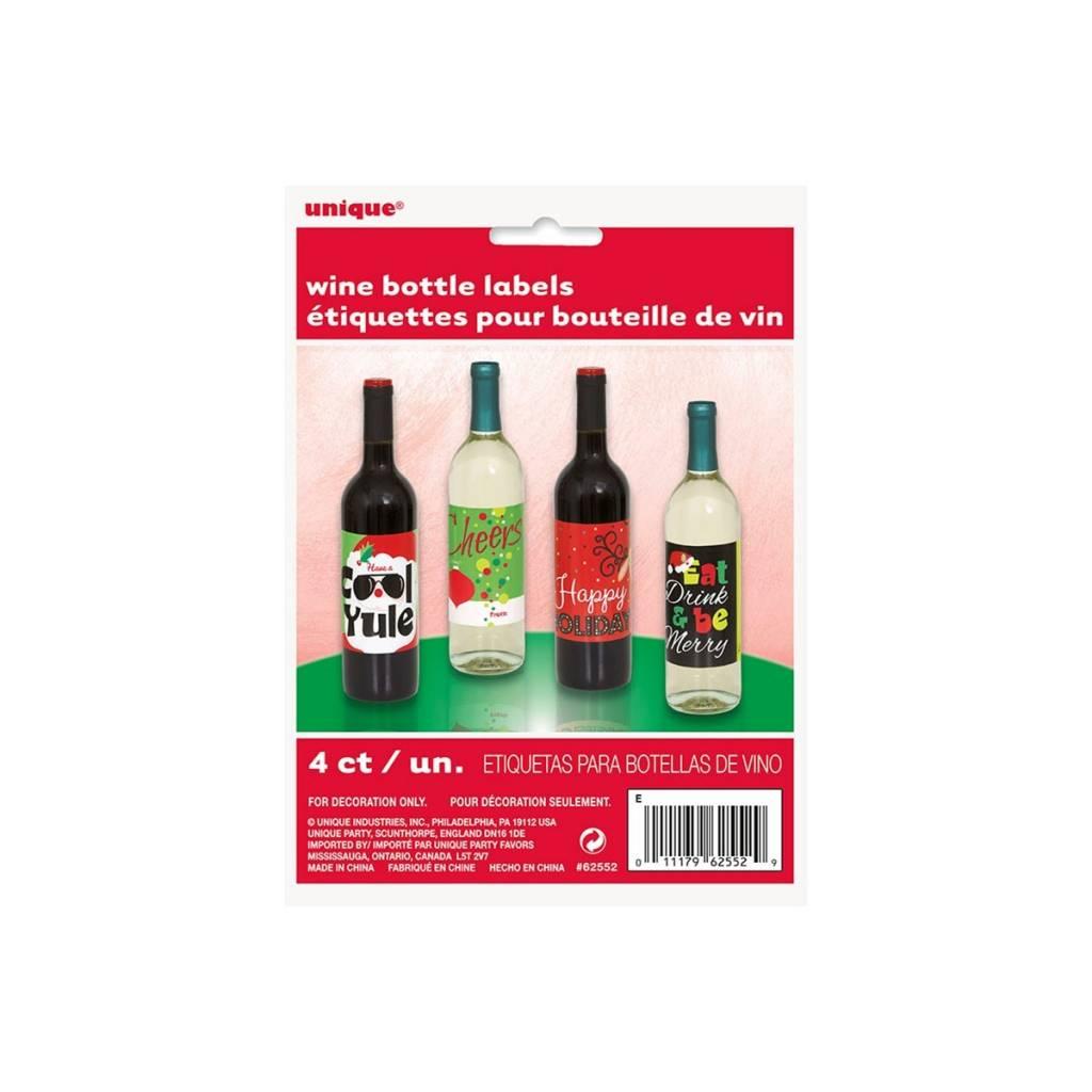Wine Bottle Labels Christmas 4pk Victoria Party Store