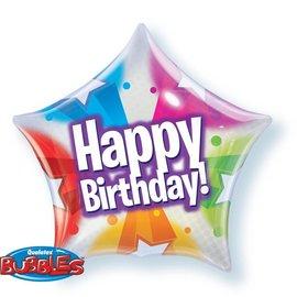 "Foil Balloon-Star Shaped Happy Birthday Bubble 22"""