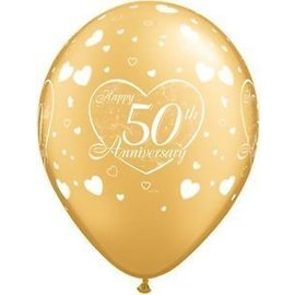 Latex Balloon-50th Anniversary Little Hearts Gold-1pkg-11""