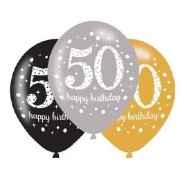 Packaged Latex Balloons-Celebrate 50 HBD-12''-15pk