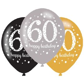Packaged Latex Balloons-Celebrate 60 HBD-12''-15pk