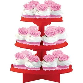 Baking Cups-Apple Red-3 Tier-11.5x11.75''-Card Board-Assemble