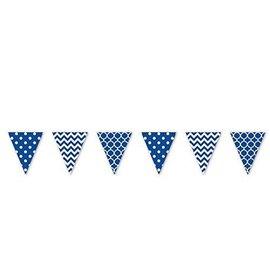 Pennant Banner-Plastic-Navy/ White-12ft-Plastic