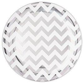 Plates-LN-Plastic-Silver/White Chevron-Premium-7.5''-20pk