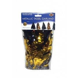 Garland-Metallic Tassel-Black & Gold-8ft