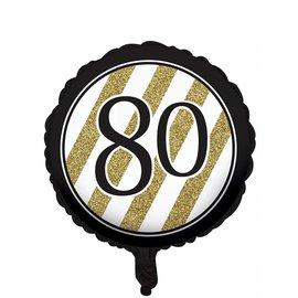 Foil Balloon-Black & Gold 80th Bday-18''
