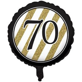 Foil Balloon-Black & Gold 70th Bday-18''