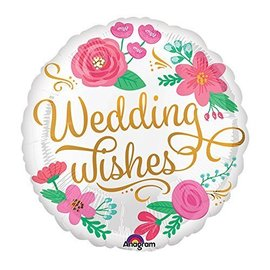 Foil Balloon-Wedding Wishes Flower-18''