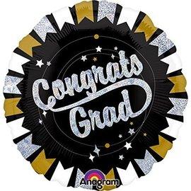 Foil Balloon-Congrats Grad Black & Gold-18''