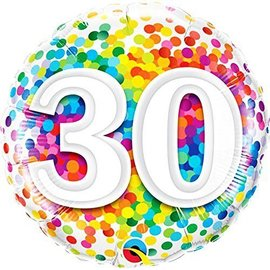 Foil Balloon-30th BD Confetti-18''