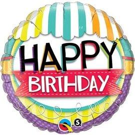 """Foil Balloon - Happy Birthday Stripes- 18"""""""