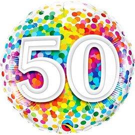Foil Balloon-50th BD Confetti-18''