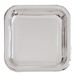 Plates-LN-Square-Silver Foil-8pk