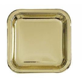 Plates-LN-Square-Gold Foil-8pk