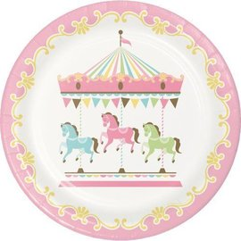 Lunch Paper Plates- Carousel- 8pk/9""