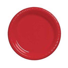 "Plastic Plates 20pc Classic Red 10 1/4"""