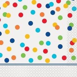 Napkins-BEV-Rainbow Polka Dots-16pk-2ply- (Discontinued)