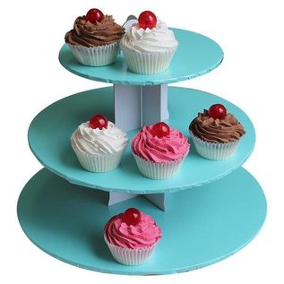 3 Tier Blue Cupcake Stand