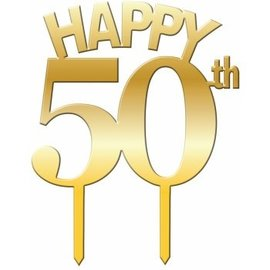 Cake Topper Happy 50th - Gold